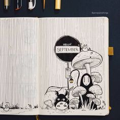 Some forest shrooms and Ghibli love for September! Always love a bit of fun at the beginning of the month :) Some forest shrooms and Ghibli love for September! Always love a bit of fun at the beginning of the month :) Bullet Journal Themes, Bullet Journal Layout, Bullet Journal Inspiration, Journal Pages, My Journal, Bullet Journals, Journal Covers, Sketch Journal, Drawing Journal