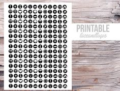 Printable Planner Stickers Black and White Icon Dots  Neutral  Happy Planner Glam Planning Vertical Horizontal FunctionalPlanner