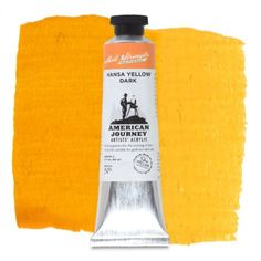 American Journey Artists' Acrylic, Hansa Yellow Dark, is a warm golden yellow used to paint the yellow stripe on city streets. Available in a 60 ml. tube. #ArtSupplies #AcrylicPainting #Acrylic