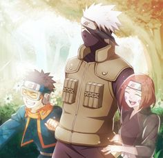 Kakashi with young Obito and Rin.Ü