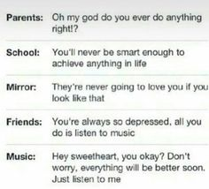 """This is so true . Especially Black Veil Brides saves people i love you guys more then i could ever scream or cry all """"emo"""" bands fix things, I feel sorry for people who get all that shite from everyone else and dont have music to help them Now Quotes, Cute Quotes, Quotes Deep Feelings, Music Quotes Deep, Attitude Quotes, Just Dream, Funny Relatable Memes, Music Is Life, It Hurts"""