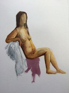 Acuarela desnudo del natural Dic 2014