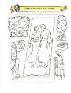 Primary 3 Manual Lesson 5 The First Vision Journal Page Handout That I Will Include Fasteners To Put Puppet Of Joseph Smith
