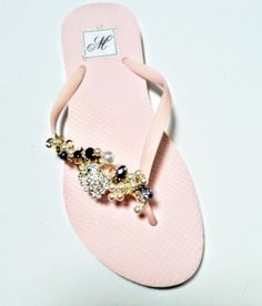 d7c0a3bc6f42 Wedding Bridal Flip Flops with Brooches