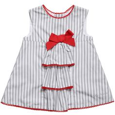 Tutto Piccolo girls white and grey striped sleeveless dress made from soft, lightweight cotton with red scalloped trims. It has a pretty ruffled front with a red grosgrain bow on the front, a full, comfortable white cotton lining and buttons to fasten at the back.<br /> <ul> <li>100% cotton (soft and lightweight)</li> <li>Machine wash (30*C)</li> </ul>