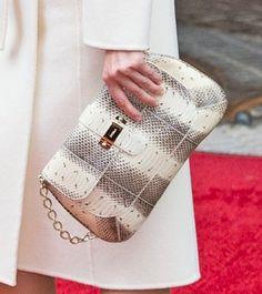 Furla striped snake print clutch bag. Debuted Nov 2014