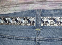 Just Esther: Soda Pop Tab Belt Instructions & Picture Tutorial (Using Ribbon) Soda Tab Crafts, Can Tab Crafts, Aluminum Can Crafts, Bottle Cap Crafts, Metal Crafts, Soda Tab Bracelet, Ribbon Bracelets, Pop Top Crafts, Pop Can Tabs