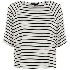 White Stripe Raglan Sleeve Top ($8.70) ❤ liked on Polyvore featuring tops, t-shirts, shirts, t shirts, white short sleeve shirt, white t shirt, raglan shirts, round neck t shirt and white stripes t shirt