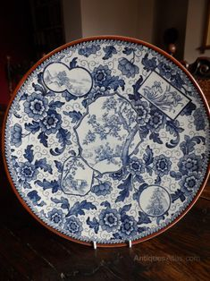 Blue and White China, Super Royal Bonn Blue And White Jokie Charger. Superb Large Charger made by Royal Bonn Germany. Wellington House, Bonn Germany, North Rhine Westphalia, Blue And White China, Art Nouveau, Charger, Antiques, Pattern, Blue And White