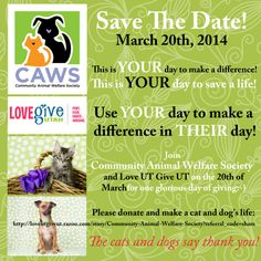 """On March 20, 2014, CAWS and """"Love UT Give UT"""" are joining together for a day of giving! Share this poster along with our """"Love UT Give UT"""" link in this message and let's get some donations to help our dogs and cats! It looks like we can take donations now so nobody has to wait! You can share this poster along with the link. Let's make this a great event for CAWS! http://loveutgiveut.razoo.com/story/Community-Animal-Welfare-Society"""