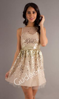 sequins champagne sleeveless illusion boat neck short cocktail homecoming dress from gudeer.com