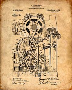 This is a print of the patent drawing for a printing press in The original patent has been cleaned up and enhanced to create an attractive display piece for your home or office. Diy Steampunk, Steampunk Interior, Kamera Tattoos, Citation Art, Patent Drawing, Printing Press, Art Graphique, Office Art, Patent Prints