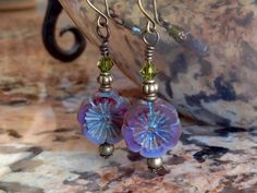 pansy earrings Czech glass earrings by TurquoiseStarJewelry