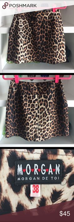 MORGAN Parisian Leopard Mini Skirt FR 38 US 2/4 Super cute Leopard skirt I picked up in Paris years ago. French size 38, similar to a 2 or 4. Waist measures 14in, length 16in. Nasty Gal Skirts Mini