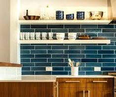 Image result for navy blue subway tile backsplash