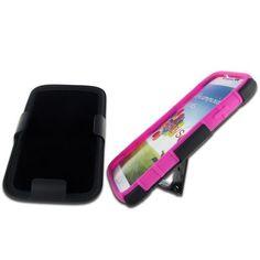 Samsung I9500 (Galaxy S4) Black + Black + Hot Pink Robotic Case 2 w/ Holster
