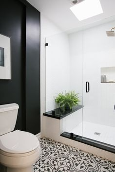Clear glass doors and small vibrant plant in black and white bathroom.