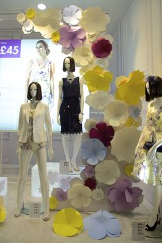 """BHS (British Home Store), London, UK, """"Spring is All Around Us"""",C Colour produced these paper flowers, pinned by Ton van der Veer"""
