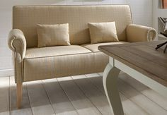 Tischsofa 3-sitzig, Stoff A1543, Füße Buche natur
