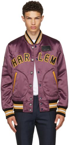 COACH 1941 Purple Satin Varsity Jacket. #coach1941 #cloth #jacket
