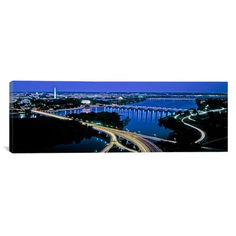 """East Urban Home Panoramic High Angle View of a City Washington DC Photographic Print on Canvas Size: 30"""" H x 90"""" W x 1.5"""" D"""
