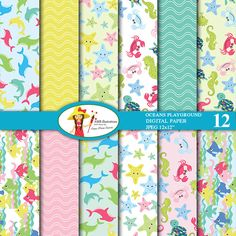 OCEANS PLAYGROUND DIGITAL PAPERS - See creatures in pastel colors are perfect for creating invitations, scrapbooking, cardmaking, crafts and more.