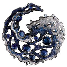 Sapphire and Diamond Brooch by Jewellery Theatre