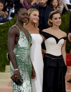 THESE THREE <3 #GIRLPOWER Emma Watson, Lupita N'yongo, and Margot Robbie's Met Gala gowns sent a bold message to the fashion industry.