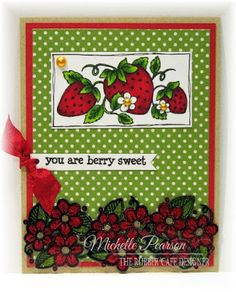 Berry Sweet Strawberries by @mshellp  for @therubbercafe using @echoparkpaper #card #creativecafeKOTM #Stamping #youresofineglitter @copicmarker