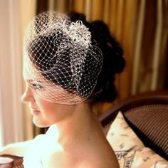 Crystal Head Piece and White Birdcage Veil Bridal Accessory Wedding Special Occasion Hair Accessories. $56.00, via Etsy.