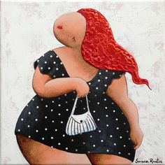 I'm going. Een schilderij van Susan Ruiter Schilderijen Dikke dames