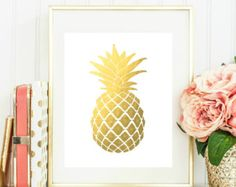 Piña oro instantáneo descargar - imprimible piña oro pared Decor - arte de la pared de oro fruta - oficina, sala y decoración - decoración de oro fruto de pared