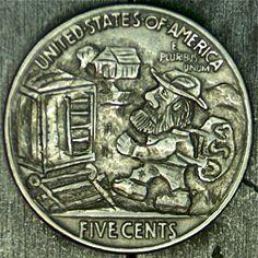 JOHN CARTER HOBO NICKEL: 1937 GRAVY TRAIN Hobo Nickel, Coin Art, Gravy, Buffalo, Maps, Coins, Personalized Items, Salsa, Blue Prints