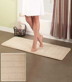 """Set the 20"""" x 48"""" Plush Foam Bath Runner right outside your shower for immediate comfort underfoot. It absorbs water quickly, keeping your feet and floor dry. The soft foam insert cushions your feet while you get ready for the day. The nonskid backing pr"""