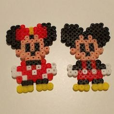 Mickey and Minnie Mouse hama beads by eltallerderin