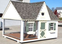 "Front view of cool doghouse/kennel kit......what many dog owners wish for their ""best friends""......and it IS possible! These kits when properly assembled and finished according to recommendations, will last a lifetime for your furry buddies! http://www.doowaggle.com/luxury-dog-houses #cooldoghouses #luxurydoghousekits #extralargedoghouses"