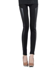 Black Leggings with Panel down the sides.  I just bought a pair very similar to these but with knee area leather too! I'm super excited but wear it with what!? Lol