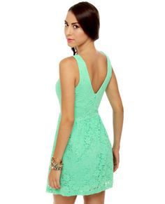 Black Sheep Blooming Pale Light Green Lace Dress Green lace