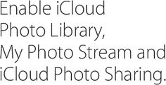 Enable iCloud Photo Library, My Photo Stream and iCloud Photo Sharing.