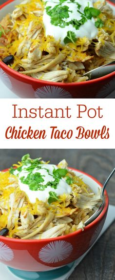 These chicken taco bowls only take a few minutes to prepare and about half an hour to cook in an Instant Pot. They are a family favorite and the recipe easily converts for a slow cooker.
