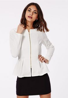 Danicar Gold Zip Textured Peplum Blazer White - Blazers - Missguided | Ireland