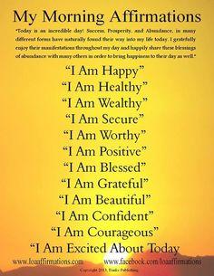 Uplifting Morning affirmations for use with EFT. Ruthi-Cohen Joyner | www.tappingjourney.com http://www.loaspower.com/smart-social-media-user/