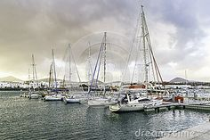 Yachts in the Marina of Puerto Calero in Lanzarote. Canary Islands , Spain.