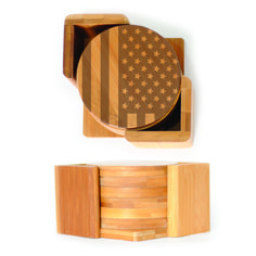 Round Wood Coasters (6) - American Flag