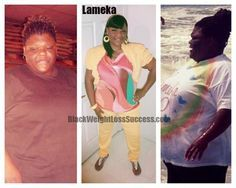 Today's featured weight loss before and after story: Lameka lost 106 pounds going from 349 pounds to 243 pounds.  She was motivated by finding out she had stroke level high blood pressure.