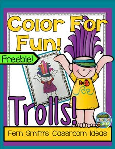 One Free Troll Coloring Page for your classroom or personal children's fun! Students can draw in a background for the troll, write rhyming words, or a complete sentence. Use it for all sorts of jump off points for creative writing lessons with the excitement of the new Troll craze!