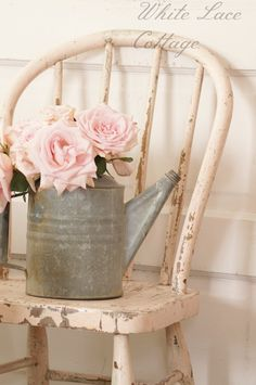Watering Can with Flowers | Love finding these old watering cans,this would look amazing with a ...