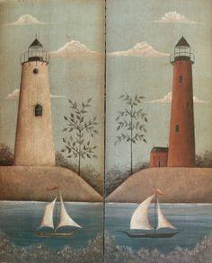 Nautical Folk Art LIGHTHOUSE Print by Donna Atkins, you choose the one you'd like. $15,00, via Etsy.