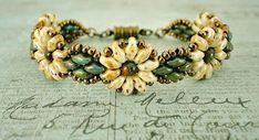 Bracelet of the Day: Daisy Duo Bracelet - Ivory & Turquoise (Linda's Crafty…