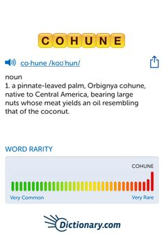 The best word I've seen today on Words with Friends is 'cohune'. Can you come up with a better one?
